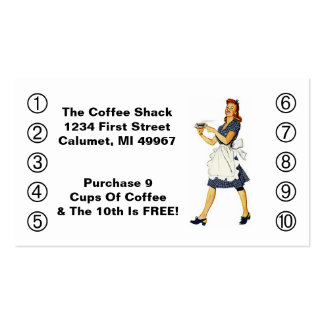 Retro Business Punch Cards Diner happy Waitress Double-Sided Standard Business Cards (Pack Of 100)