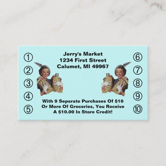 Retro business punch cards happy grocery shopper zazzle retro business punch cards happy grocery shopper colourmoves