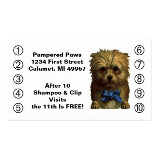 Retro Business Punch Cards Pet Puppy Dog Grooming Business Card