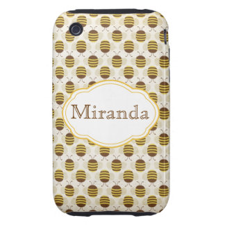 """Retro """"Busy as a Bee"""" Honeybee iPhone3G iPhone 3 Tough Cases"""