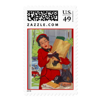 Retro Busy Errands in Suburbs Postage Stamps