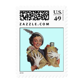 Retro Busy Grocery Bags Shopping Postage Stamps