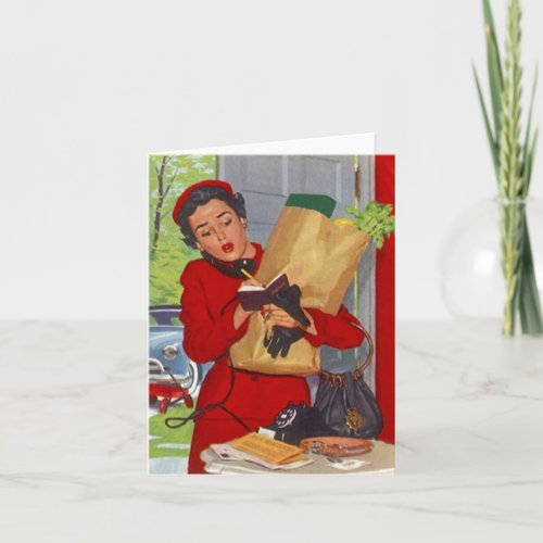 Retro Busy In Suburbia Red Suit Blank Cards