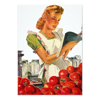 Retro Busy Kitchen Home Canning Party Blank 5x7 Card