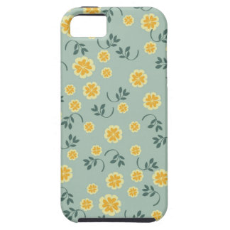 Retro buttercup yellow & blue floral heart pattern iPhone SE/5/5s case