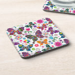 Retro Butterflies And Flowers Colorful Pattern Drink Coaster