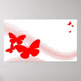 retro butterflies poster
