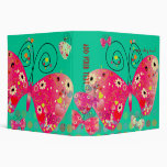 Retro butterflies, spring flowers with polka dots 3 ring binder