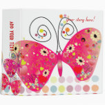 Retro butterflies, spring flowers with polka dots 3 ring binders