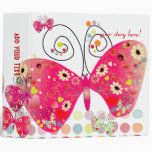 Retro butterflies, spring flowers with polka dots binder