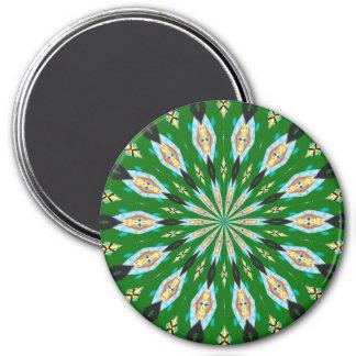Retro Butterflies Spring Green Kaleidoscope Magnet