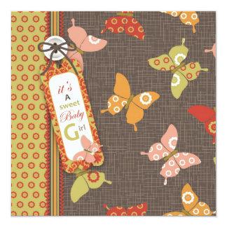 Retro Butterflies Square Card
