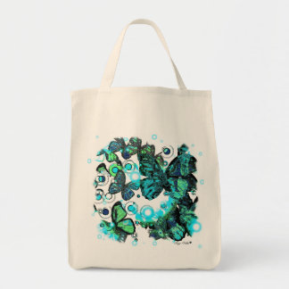 Retro butterfly design grocery tote bag
