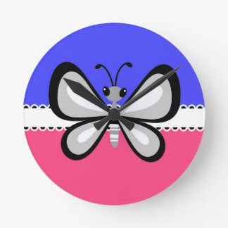 Retro Butterfly on Blue & Pink Background Round Clocks