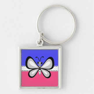 Retro Butterfly on Blue & Pink Background Keychain