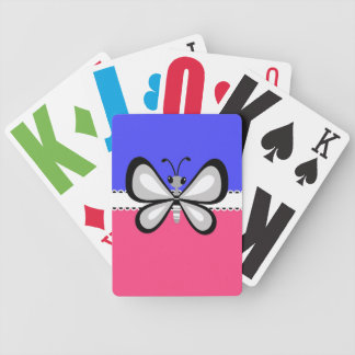 Retro Butterfly on Blue & Pink Background Card Deck