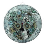 Retro butterfly rose skull dartboard with darts
