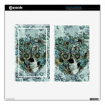 Retro butterfly rose skull decals for kindle fire