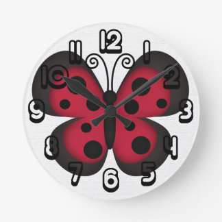 Retro Butterfly Round Wallclock
