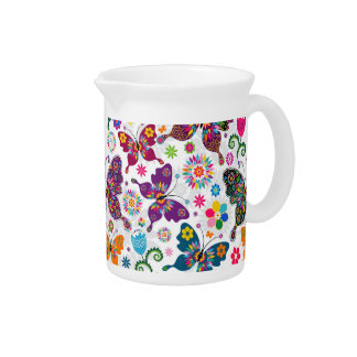 Retro Butterfly's And Flowers Pattern Drink Pitcher