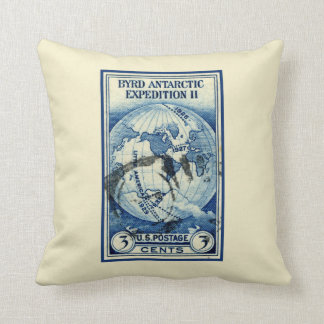Retro Byrd Antarctic Expedition Aviation Postage Throw Pillow