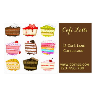 Retro cafe coffee shop cute cake slices business card