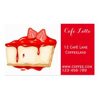 Retro cafe coffee shop cute strawberry cheesecake business card