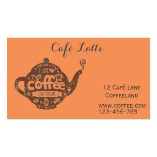 Retro cafe coffee shop vintage stylish orange business card