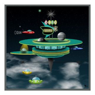Retro Cafe Space Poster