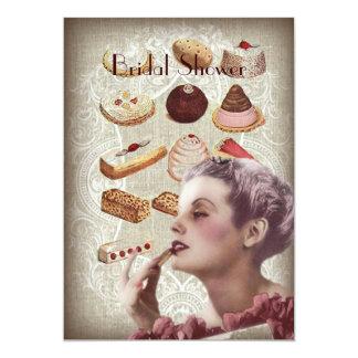Retro cake Vintage Paris bridal shower Card