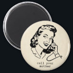 """Retro Call Your Mother Funny Vintage Magnet<br><div class=""""desc"""">Give this humorous magnet to your adult children to remind them to: call your mother! Featuring a retro vintage illustration of a housewife talking on the phone,  this magnet is sure to make your kids laugh.</div>"""
