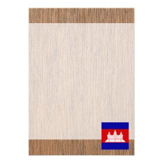 """Retro Cambodia Flag 5"""" X 7"""" Invitation Card"""