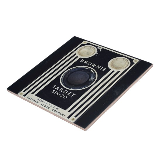 Retro camera brownie target. ceramic tile