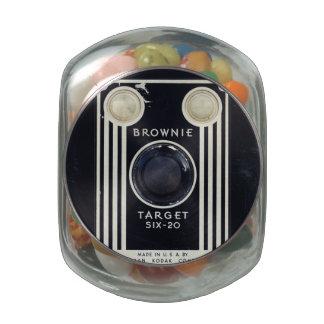 Retro camera brownie target. glass candy jars