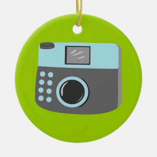 Retro Camera Double-Sided Ceramic Round Christmas Ornament
