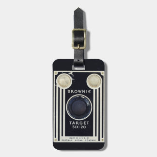 Retro camera kodak brownie target bag tag