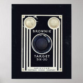 Retro camera kodak brownie target poster
