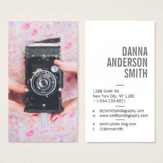 Retro camera photographer simple modern white business card