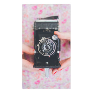 Retro camera photographer simple modern white Double-Sided standard business cards (Pack of 100)
