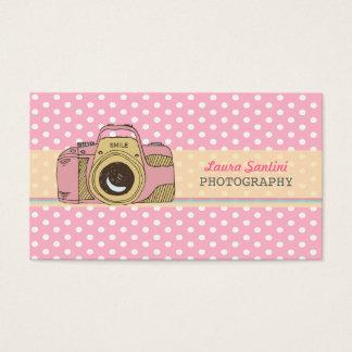 Retro Camera Photography Polka Dot Business Cards