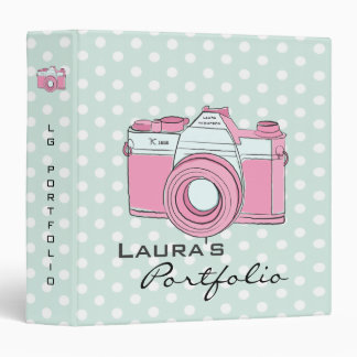 Retro Camera Photography Polka Dots Portfolio Binder