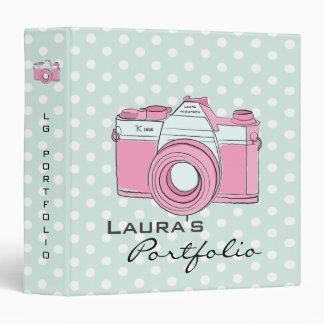 Retro Camera Photography Polka Dots Portfolio 3 Ring Binder