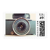 camera, vintage, film, old, retro, classic, funny, vintage camera, photography, photographer, photos, beautiful, cameras, flash, lenses, glass, technology, electronics, art, postage, stamp, Stamp with custom graphic design