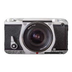 Retro Camera With Scroll On Chrome iPhone 3 Case at Zazzle