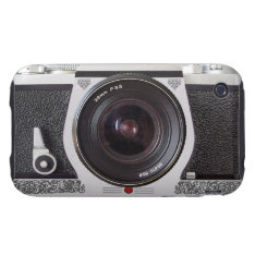 Retro Camera With Scroll On Chrome iPhone 3 Tough Tough iPhone 3 Cover at Zazzle