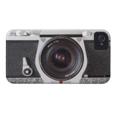 Retro Camera With Scroll On Chrome Iphone 4 Case at Zazzle