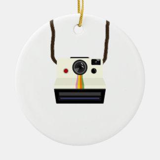 retro camera with strap ceramic ornament