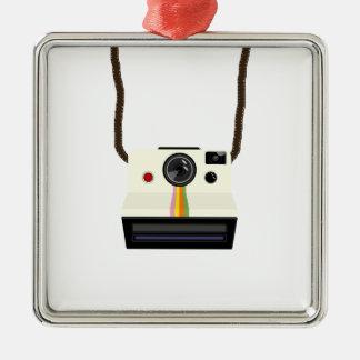 retro camera with strap metal ornament