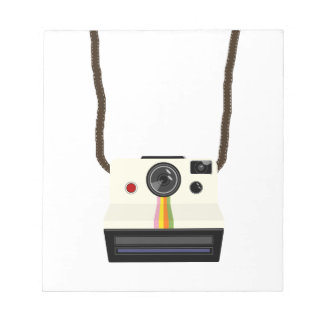 retro camera with strap notepad