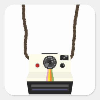 retro camera with strap square sticker
